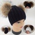 Poms do pom gorros de malha verdadeira pele de vison chapéu do inverno das mulheres de lã dupla bola Cap Pompom Bobble Ski Skullies Gorros cap fêmea Da Senhora