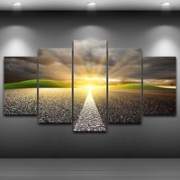 Canvas Art Wall Pictures Frame Home Decor 5 Panels HD Printed Setting Sun Highway Landscape Poster