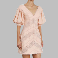 HAMALIEL Brand Women clothing Runway Summer Pink Patchwork Lace Holiday Dress Vintage Embroidery Lantern Sleeve V Neck Vestidos