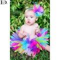 HABA Super lindo Del Tutú hecho a mano colores del caramelo del bebé photography fiesta falda de lana, fresco de los bebés ropa HB1372
