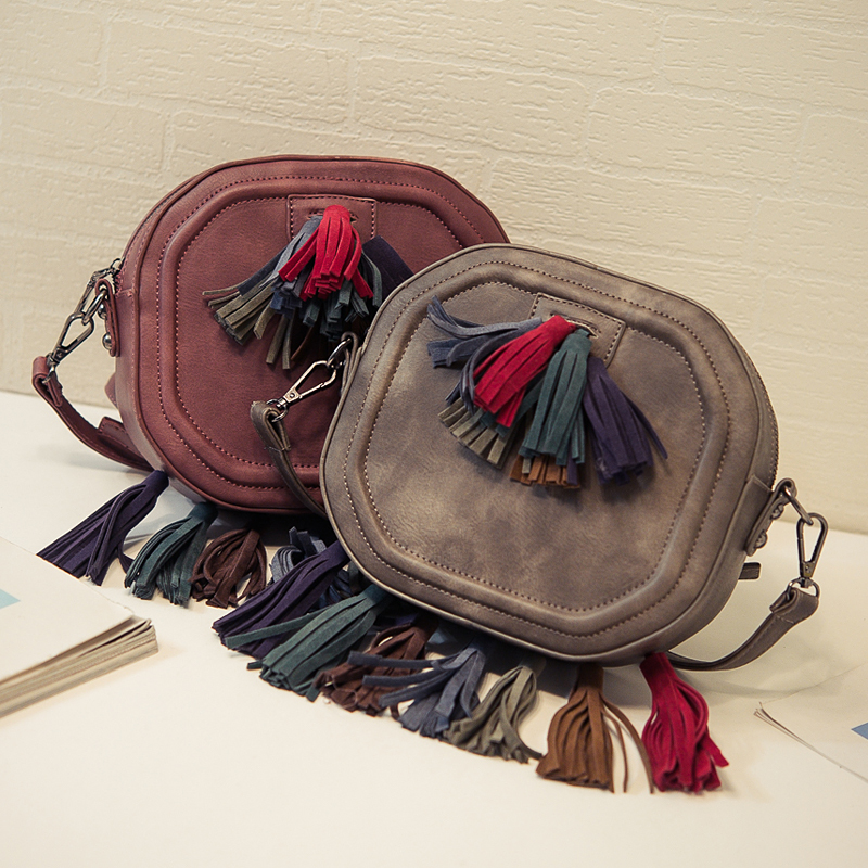 Brand original design Simple Scrub Mini Small Women Fringed Crossbody bag Tassel Messenger Shoulder Bag Sling