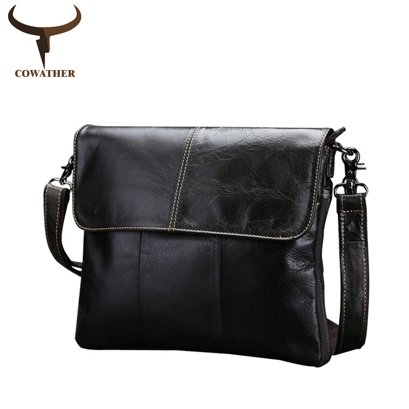 цена COWATHER Vintage cow genuine leather messenger bags for men handbags crossbody bag high quality oil wax leather free shipping