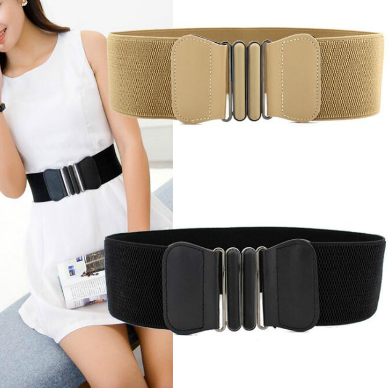 Brand New Waist   Belts   Women Fashion Lady Solid Stretch Elastic Wide   Belt   Dress Adornment For Women Waistband
