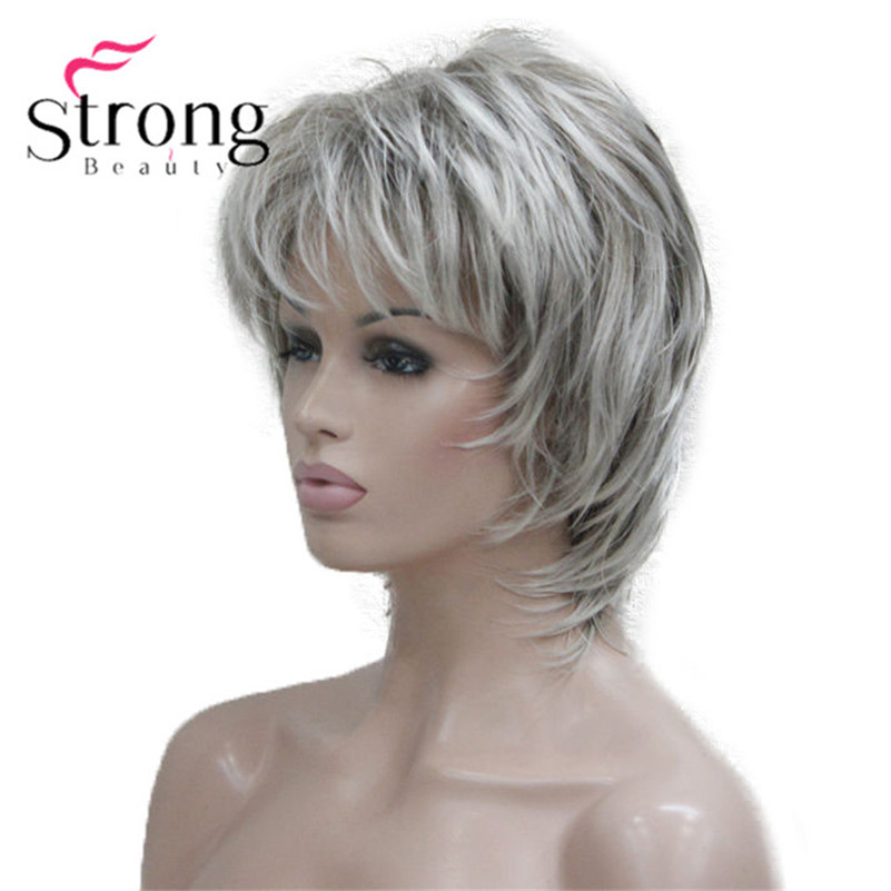 StrongBeauty Short Soft Shaggy Layered Silver Mix Classic Cap Full Synthetic Wig Women's Wigs Blonde COLOUR CHOICES