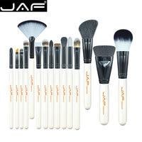 JAF 15-piece Makeup Brush Kit professional highlighter brush Animal Hair White Handle Make Up Brush Set Conveniently Portable