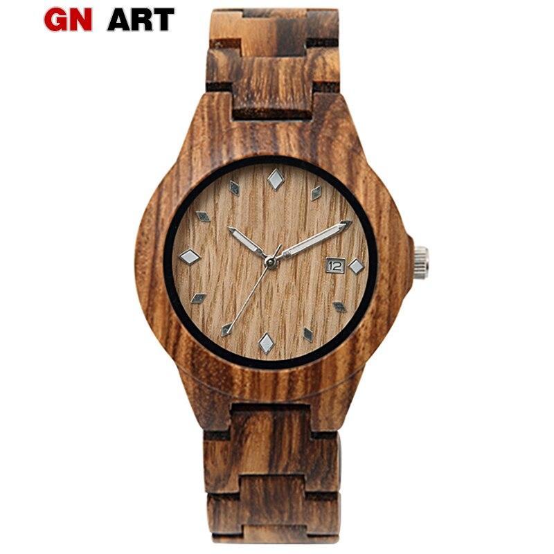 GNART madera relojes mujer 2018 reloj de madera reloj de lujo señoras Digital Relogio Feminino e Masculino