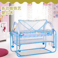 Newborn Crib Iron Bed with Roller Removable Cradle Bed Lightweight Multifunctional Crib
