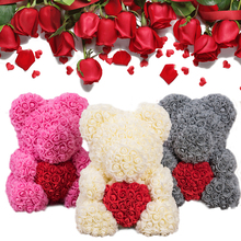 2019 Hot Sale 40cm Soap Foam Bear of Roses Teddi Rose Flower Artificial New Year Gifts for Women Valentines Gift Christmas