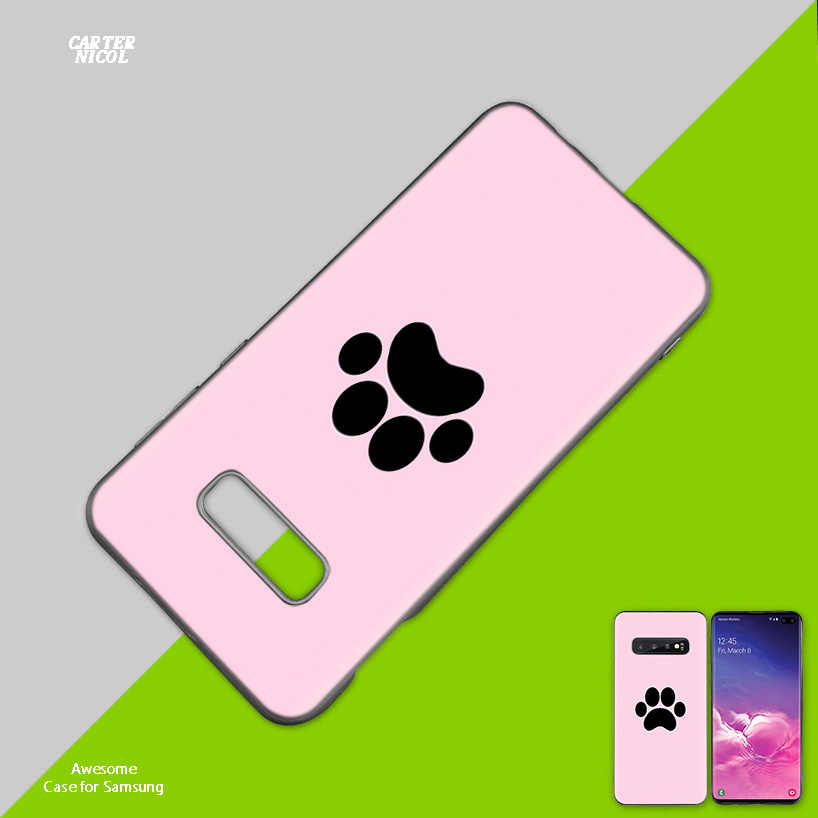 Kucing Anjing Paw Desain Silikon Cover untuk Samsung Galaxy S10 S10e 5G S9 S8 S7 S6 Edge j8 J6 J5 J4 Plus 2018