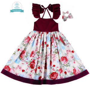 Image 5 - Flofallzique Cotton Vintage Printed Floral Sweet Kids Clothes With tow bow Clips Party Wedding Casual Cute girls dress  1 10Y