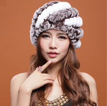 2013 Newest Women's Fashion Real Knitted Rex Rabbit Fur Hats Lady Winter Warm Charm Caps Free Shipping