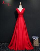 Jark Tozr Custom Made Long Formal Dresses 2018 Vestido De Festa V Neck Lace Up Red