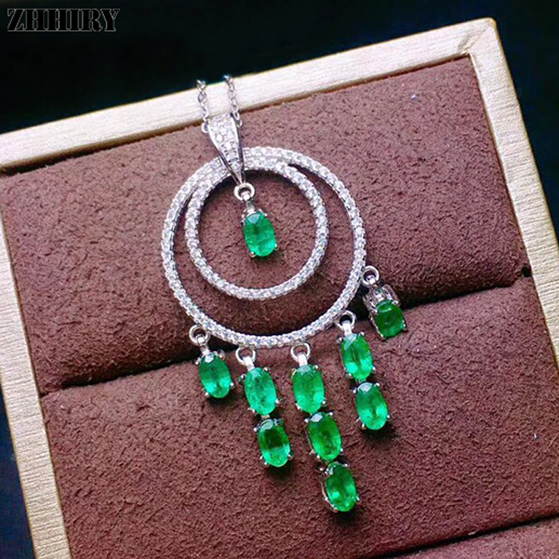 ZHHIRY Genuine 925 Sterling Silver Green Emerald Necklace Pendant For Women Real Natural Gem Stone Fine Jewelry ZHHIRY Genuine 925 Sterling Silver Green Emerald Necklace Pendant For Women Real Natural Gem Stone Fine Jewelry