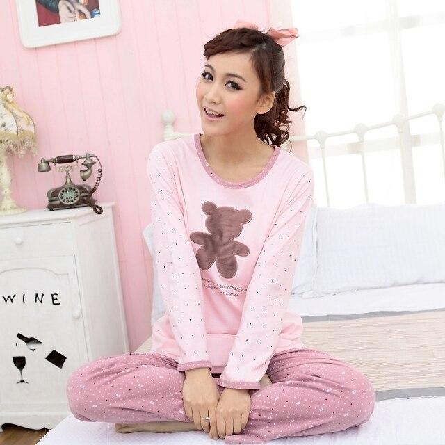Free Shipping Spring women's 100% cotton o-neck long-sleeve set sleepwear women's bear lounge