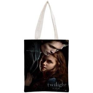 Personalizado crepúsculo sacola reutilizável bolsa de ombro bolsa dobrável algodão lona sacos de compras personalizar sua imagem