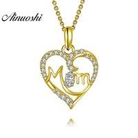 AINUOSHI 10 К твердого желтого золота Подвеска Мода кулон сердце SONA алмаз Для женщин ювелирные изделия мама письма дизайн 2,6 г отдельный кулон