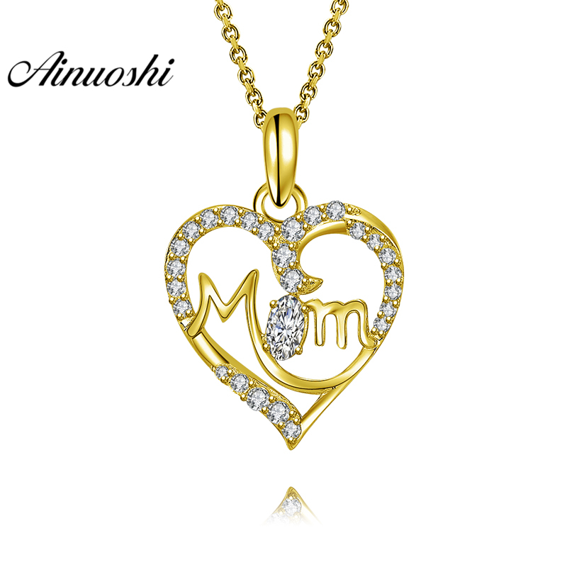 AINUOSHI 10K Solid Yellow Gold Pendant Trendy Heart Pendant SONA Diamond Women Jewelry MOM Letters Design 2.6g Separate Pendant trendy solid color heart pendant necklace for women
