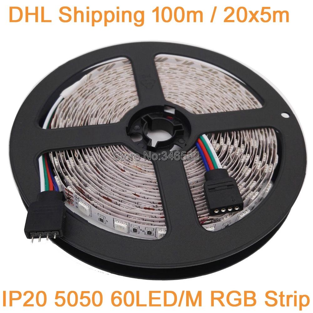 DHL Shipping 100M 20x5M 12V 5050 RGB LED Strip Light 60LED/M DC12V Flexible LED Tape Ribbon, RGB Multi-Color IP20 Non-Waterproof