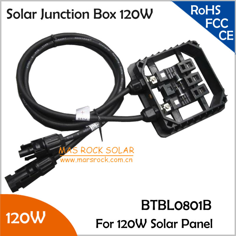 Waterproof Solar Module Junction Box 120W with 2 Diodes(10A10), MC4 Connector, 90CM Cable, 5pcs/lot Wholesale 120w Terminal Box waterproof black ip68 plastic cable wire connector gland electrical 3 cable junction box with terminal