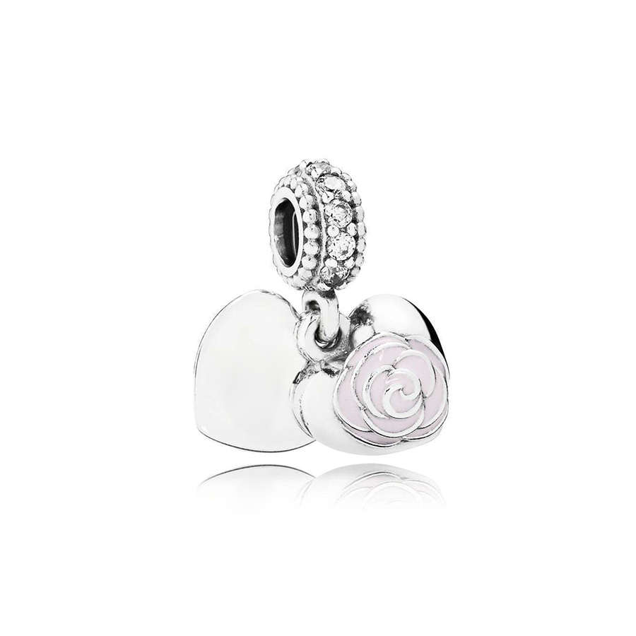 NEW 100% 925 Sterling Silver 1:1 791528EN40 Mother's Rose Dangle Charm Original Women Wedding Fashion Jewelry