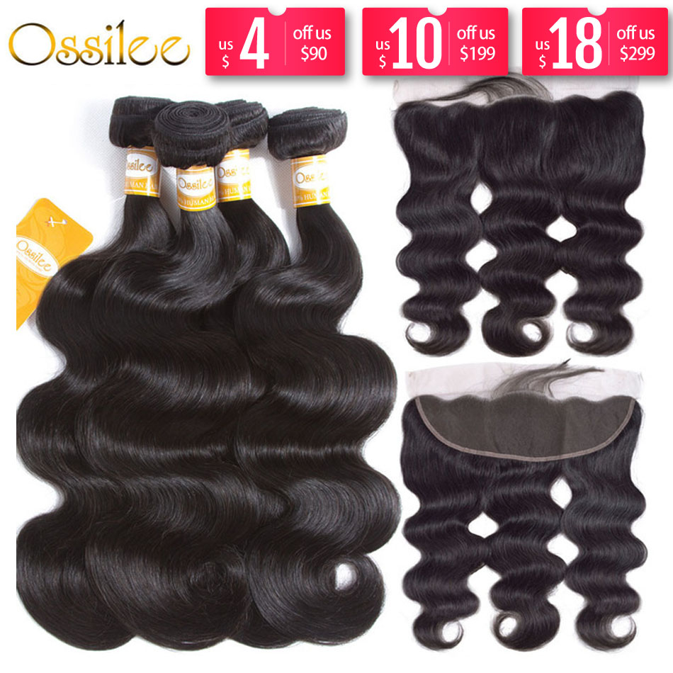Ossilee Frontal de encaje de cierre con paquetes de humano brasileño de la onda del cuerpo paquetes de pelo con cierre de cabello Remy Frontal con paquetes