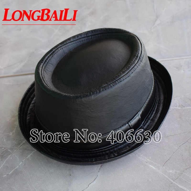 New Fashion Black Faux Leather Porkpie Hats For Men Chapeu Masculino Fedora  Flat Top Caps Free afa05925518e