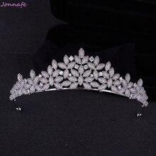 Jonnafe Full Cubic Zirconia Wedding Prom Hair Crown Silver Bridal Headband Tiara Princess Women Hair Jewelry Accessories