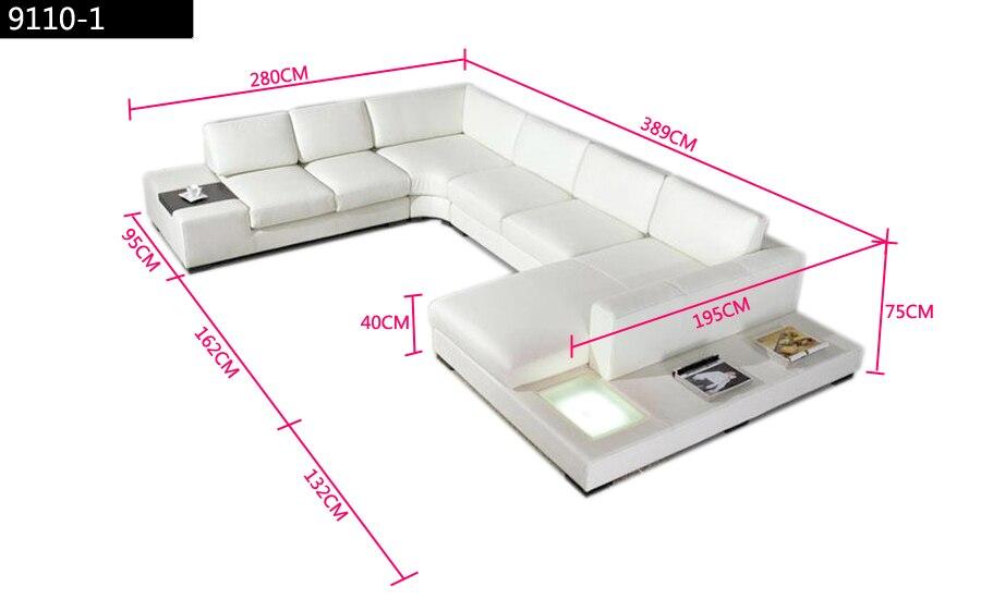 Europeiska laest designer soffa Stor storlek U-formad vit lädersoffa - Möbel - Foto 4