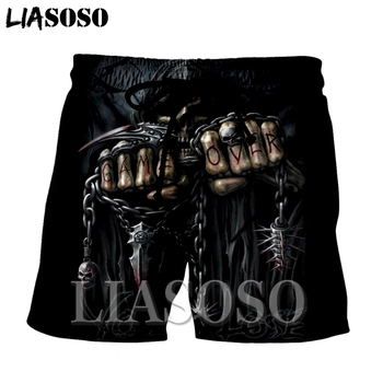 LIASOSO fashion death animal suit casual anime rock punk skull poker top men women pants Harajuku Beach Sweatpants shorts E400
