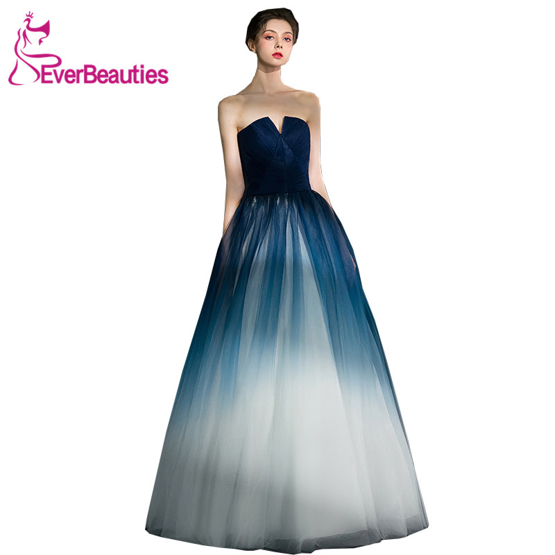Strapless   Evening     Dresses   Long Tulle Elegant Party Gowns Prom   Dresses     Evening   Gowns Robe De Soiree