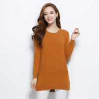 Women Pullovers 100 Pure Goat Cashmere Sweater 2016 New Winter Warm Long Skirts O Neck Pockets