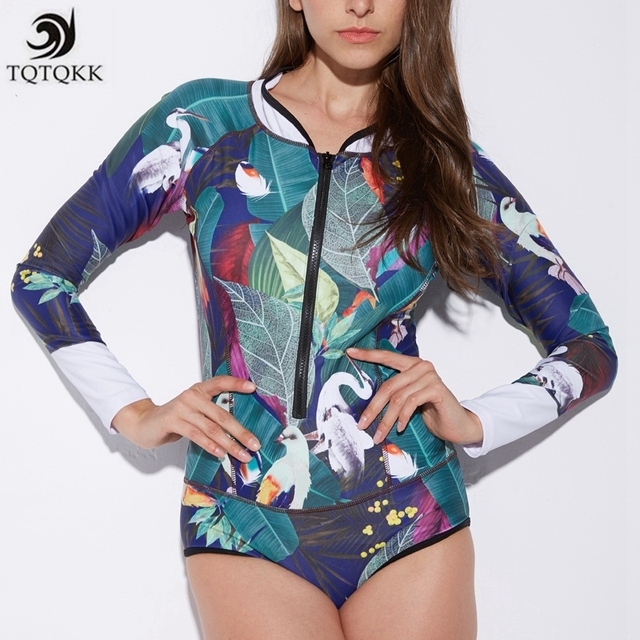 be01243dc4537 TQTQKK 2019 Vintage Print Floral One Piece Swimsuit Women Long Sleeve Surf Bathing  suit Bodysuit Zip