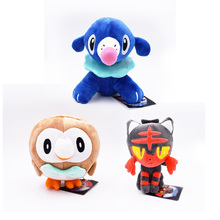3 pcs Cute Soft Cartoon Game Rowlet & Popplio Litten Stuffed Plush Doll Animal Dolls Hot Toys 20 CM Great Gift For Kids