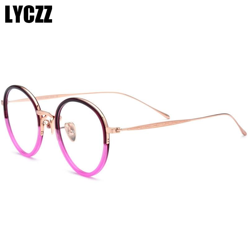 Frauen A1 Rahmen Optische Gläser Männer Reinem Platte Myopie a3 a2 Brillen Retro Lyzcc a4 Vintage Runde Titan Oqx7UIA