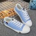 Мода Холст Обувь Конфеты цветные Повседневная Обувь на шнуровке Квартиры любовника Холст Уличной Обуви Size35 ~ 43