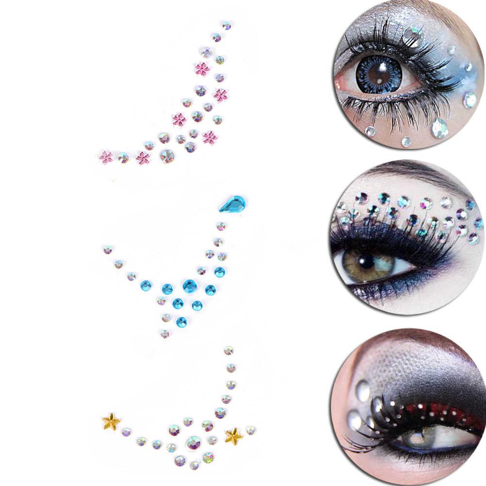 Etiqueta engomada de cristal 3D cara ojos cuerpo tatuaje temporal joyería pegatinas adhesivo cara joyas Festival Fiesta brillo tatuaje
