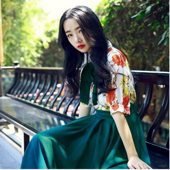 Top Quality New 2017 Spring Dress Women Turn down Collar Ruffles Long Sleeve Ankle Length Dress Dark Green Casual Elegant AW489