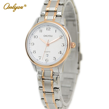 Onlyou Brand Luxury Business Watches Women Men Quartz Watch Stainless Steel Lovers Watch Male Female Gold Wristwatches 61001