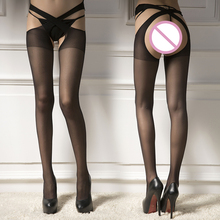 New Woman Sexy Thigh High Stockings Lady Sexy Waist Cross Top Sheer Stay Up Stockings Open Crotch Pantyhose Sexy Lingerie C8266 fashion rose floral sexy bodystocking fishnet sheer sexy lingerie charming exotric bodysuits open crotch mesh body stockings