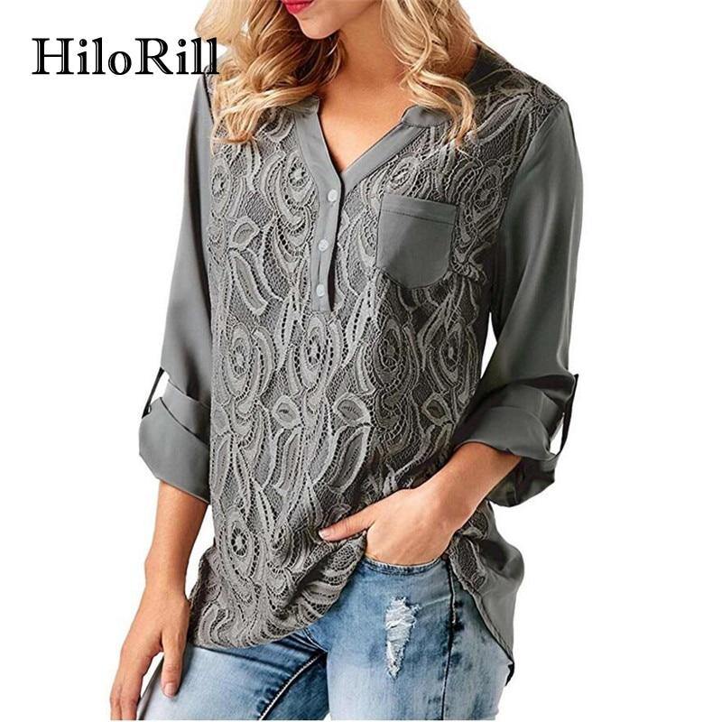 Fashion: HiloRill Lace Chiffon Blouse 2018 Fashion Long Sleeve