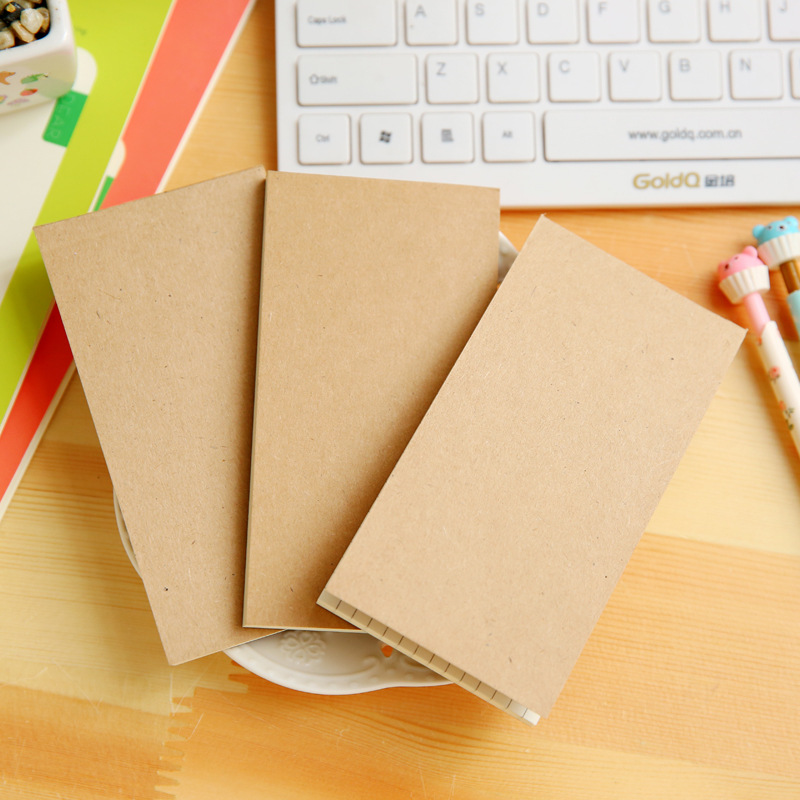 Creative Simple Kraft Paper Small Tearable Note Book To Do List Plan Notebook Grid Handbook