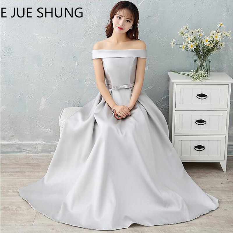 E JUE SHUNG Silver Off The Shoulder Cheap Evening Dresses Long 2018 Blue Pink Prom Dresses
