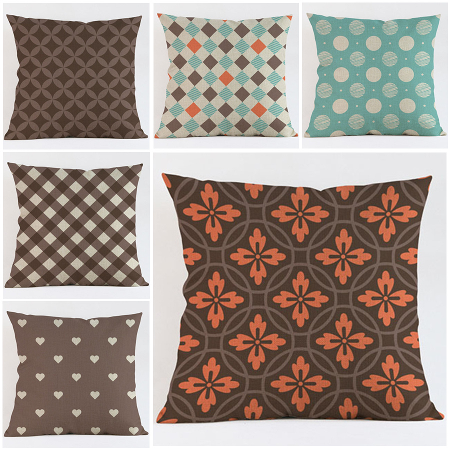 online get cheap orange throw pillow aliexpresscom  alibaba group - nordic royal style orange sofa throw pillow case high quality geometryflower design cotton linen love