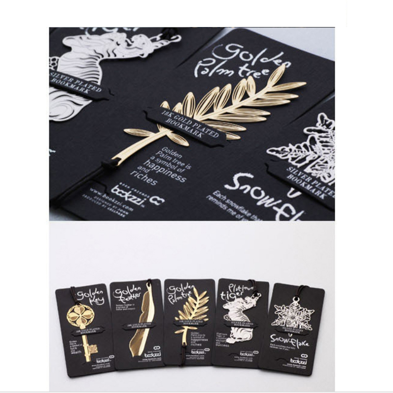 Golden Key Feather Tree Silver Plated Bookmark With Leather Strap Mental Bookmarks For Books Paper Clips Stationery Gift