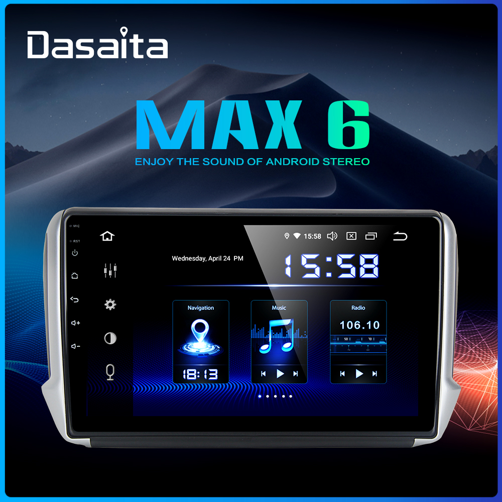Dasaita 10.2 IPS Car Android 9.0 Multimedia Player for Peugeot 2008 208 2012 2013 2014 2015 2016 GPS Navigation DSP MAX6