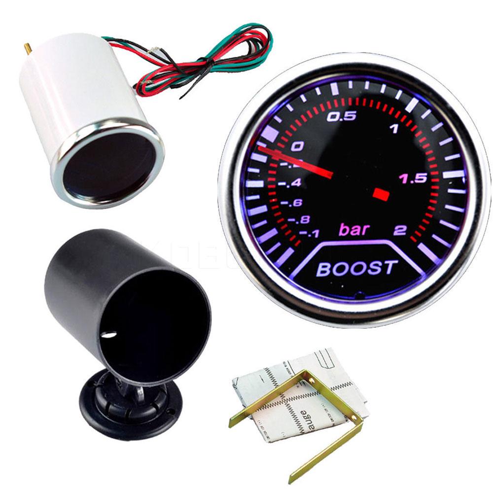 Prix pour Hight qualité 2 pouce 52mm Voitures Autos Véhicule Fumée blanc LED Turbo Boost Gauge Vide Compteur voiture instruments