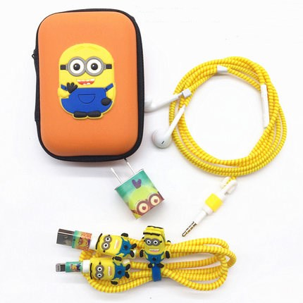 1.4M Cute Cartoon USB Cable Earphone Protector Set With Cable Winder Stickers Spiral Cord Protector For iphone 5 6 6s 7plus