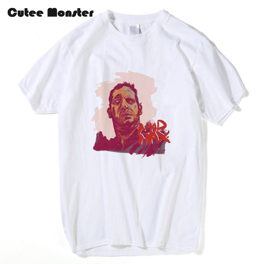 Mens Movie Mad Max T-Shirt Summer Short Sleeve White/Gray/Pink Mad Max Fury Road Doof Warrior 100% Cotton Top Tees 3XL