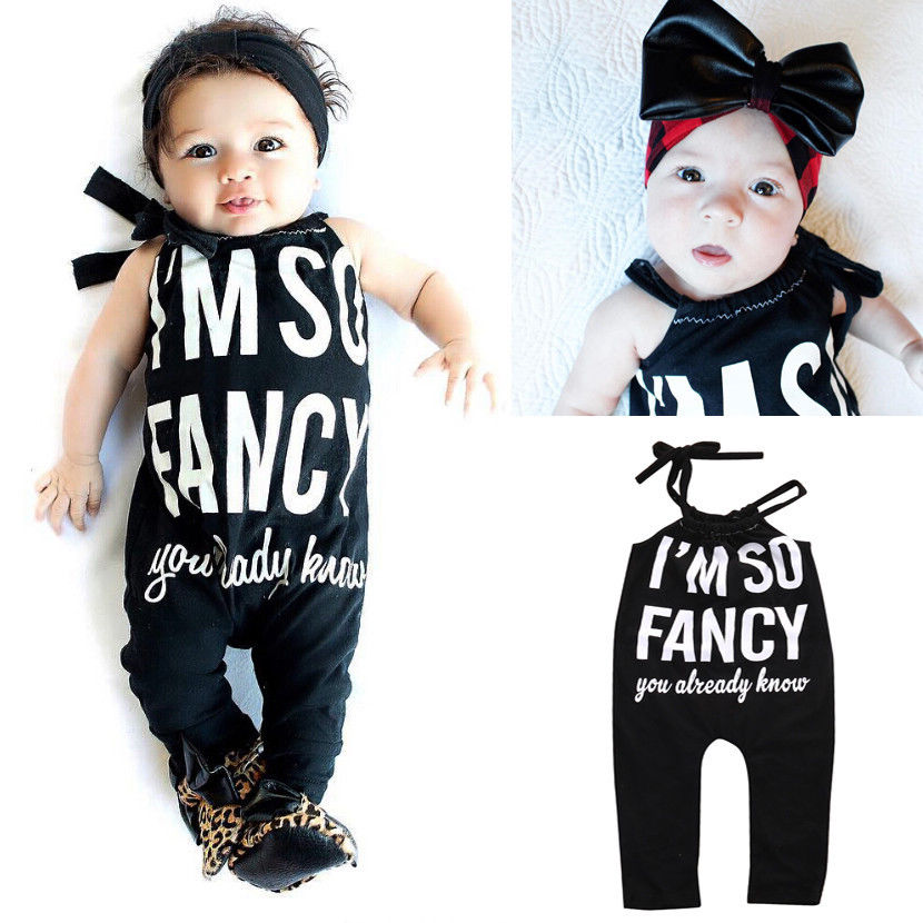 0-18M Newborn Infant Baby Girls Romper Sleeveless Black Letter Playsuit One Pieces Outfit Toddler Kids Clothes 2016 hot selling baby kids girls one piece sleeveless heart dots bib playsuit jumpsuit t shirt pants outfit clothes 2 7y