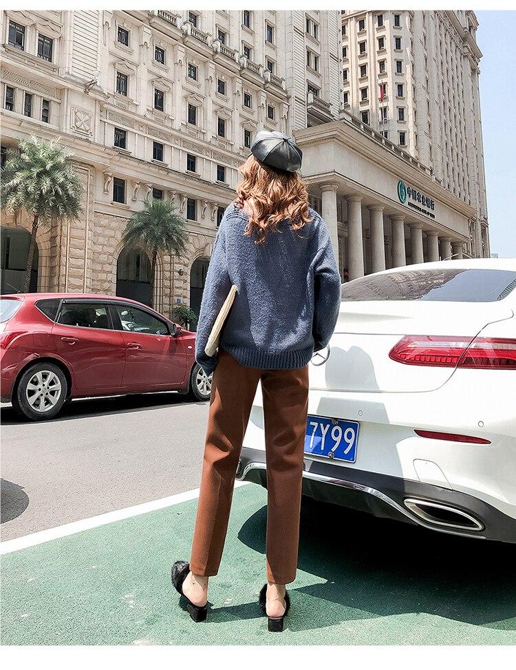 19 Autumn New Women Elastic Woolen Pant Female Plus Size Casual Trousers Black/Gray Harem Pants Winter Wool Ankle-Length Pants 27